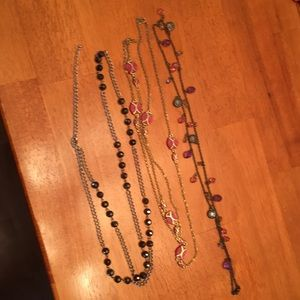 Jewelry - Bundle of 3 long layering necklaces- pink purples